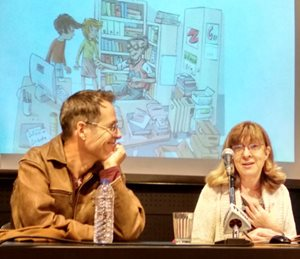 Illustrator Rui Sousa and author Vanda Brotas at the launch of the children's book