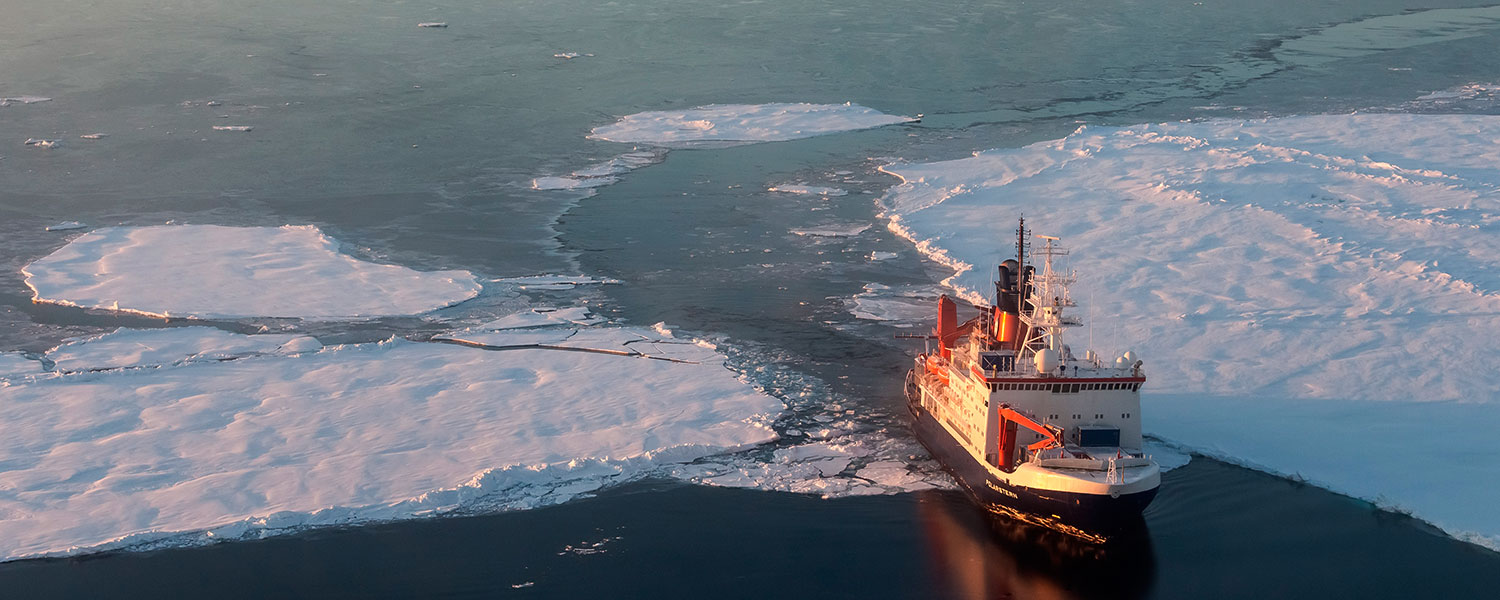 Polarstern ship from above as it breaks through ice